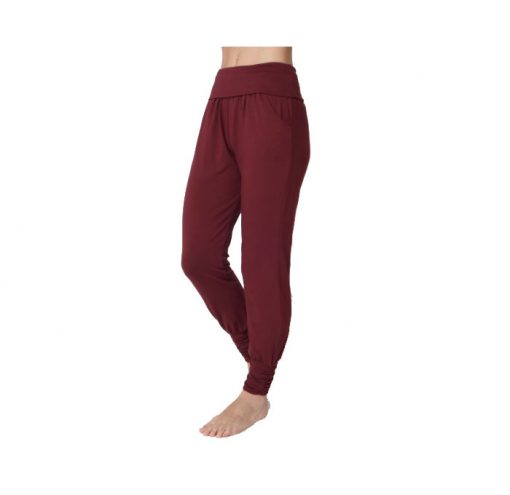 asquith long harem pants claret 2