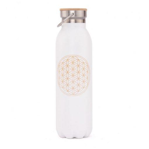 trinkflasche edelstahl isoliert blume des lebens