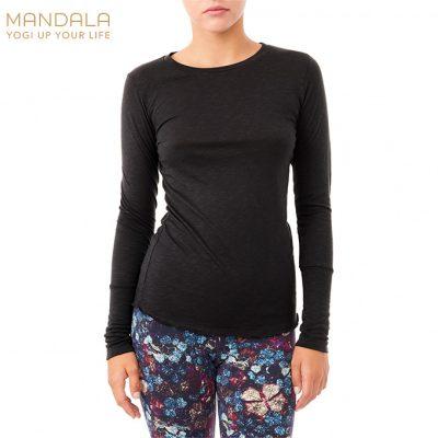 Mandala Fashion French Shirt Yoga Top schwarz