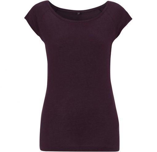 Damen Bamboo Viscose Raglan T-Shirt Aubergine