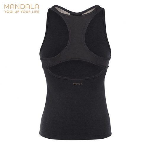 Mandala Fashion Open Back Yoga Top Black