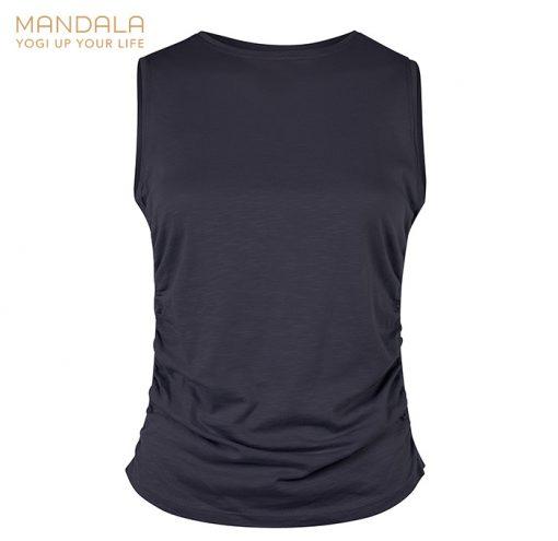 Mandala Fashion Side Ruffled Yoga Top Dark Indigo
