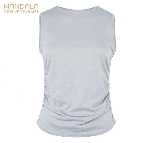 Mandala Fashion Side Ruffled Yoga Top Grey