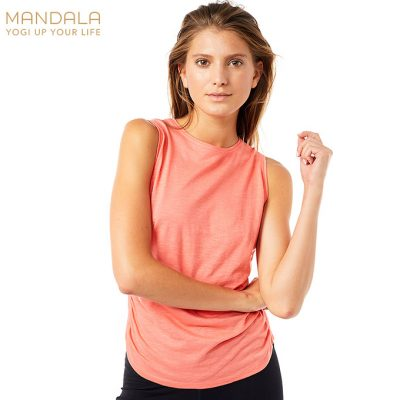 Mandala Fashion Side Ruffled Yoga Top Coral