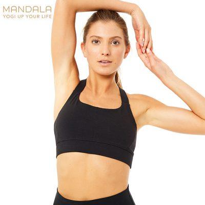 Mandala Fashion Cross Back Bra Yoga Bh schwarz