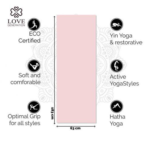 Love Generation Eco TPE Yogamatte Precious Pink Specs